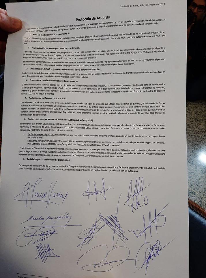 Acuerdo MOP sobre peajes y tags Chile 2020.